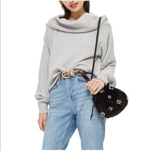 Topshop   cable sleeve cowl neck sweater